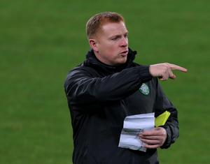 Celtic Manager Neil Lennon directs during a training session at the Juventus Stadium, Turin. Picture: Nick Potts/PA Wire.