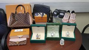 Among the haul of assets, valued at a total of €136,000, are designer shoes and handbags, jewellery, high-end watches and clothing