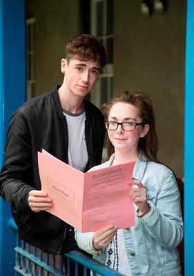Leaving Cert Accounting exam students Daniel Kelly, Dunshaughlin, and Amy Corboy, Celbridge, after their exam at O'Connells Secondary School, North Circular Road, Dublin Picture: Colin O'Riordan