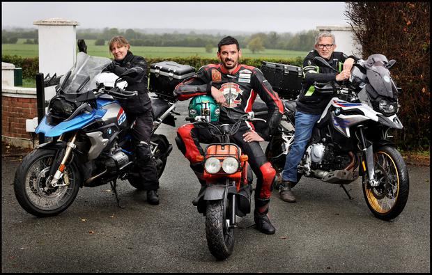 DELIVERy TEAM: From left, Bravo Charlie Tango riders Mide Emans from Dun Laoghaire, Derek Sheils from Glencree, Co Wicklow and Merv Colton from Kill, Co Kildare who are transporting donations of personal protective equipment to hospitals, nursing homes, hospices, doctors' surgeries and dentists. Photo: Steve Humphreys