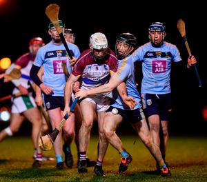 Michael Carey of UL in action against his brother Sean Carey of UCD during the Electric Ireland Fitzgibbon Cup Group A Round 3 match between UCD and UL at Belfield in Dublin. Photo by Stephen McCarthy/Sportsfile