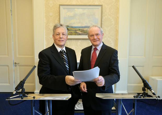 First Minister Peter Robinson (left) and deputy First Minister Martin McGuinness during a press conference at Stormont Castle, Belfast
