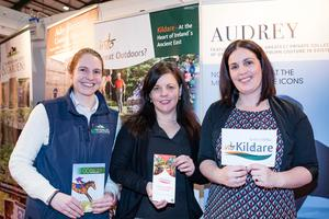 Niamh Griffen, Phil Donnelly and Melissa Foran, Kildare Failte at Kildare's Holiday World stand, Picture: Arthur Carron