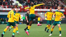 Celtic's Odsonne Edouard celebrates scoring his sides first goal during the Scottish Premiership win over Hamilton at the Fountain of Youth Stadium, Hamilton. Photo: Jane Barlow/PA Wire