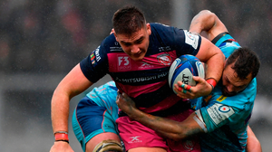 Gloucester's Jake Polledri gets through the tackle of  Exeter's Phil Dollman during their Heineken Champions Cup match. Photo: Alex Davidson/Getty Images