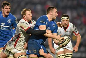 Leinster's Jack Conan is tackled by Ulster pair Roger Wilson and Andrew Warwick during their Guinness Pro12 clash at the RDS. Photo: Matt Browne / SPORTSFILE