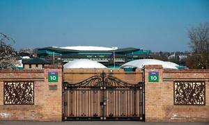 Closed gates at The All England Lawn Tennis Club, where they have decided to cancel this summer's Wimbledon championships during an emergency board meeting next week. Adam Davy/PA Wire