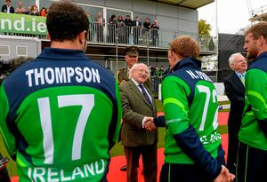 President Michael D Higgins meets Ireland's Niall O'Brien before the Royal London One-Day International, Ireland v England, at Malahide Cricket Club Picture credit: Brendan Moran / SPORTSFILE