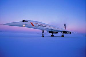 A British Airways Concorde on a Christmas flight to Finland, December 24, 1987.  Photo: Mohamed LOUNES/Gamma-Rapho via Getty Images