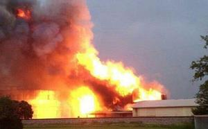 A still taken from a video of the fire at the fertilizer plant in Texas