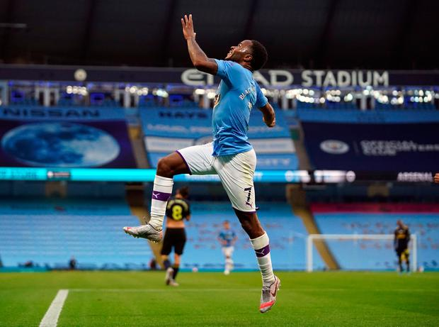 FIRST OF THE YEAR: Raheem Sterling celebrates his first goal of 2020. Photo: PA