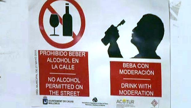 Screen grab taken from PA Video of a sign on the Punta Ballena strip in Magaluf, Spain, as the town saw tough new rules cracking down on drunkenness come into force at midnight on June 15 - but the resort still witnessed the debauched scenes that have made it infamous. PA Video/PA Wire