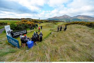 28 May 2015; Rory McIlroy tees off on the 16th. Dubai Duty Free Irish Open Golf Championship 2015, Day 1. Royal County Down Golf Club, Co. Down. Picture credit: Ramsey Cardy / SPORTSFILE