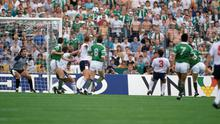 Ray Houghton (second from right, and partially hidden) heads home the winner past England 'keeper Peter Shilton in Stuttgart in 1988