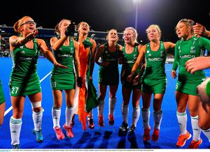 Ireland players celebrate after qualifying for the Tokyo2020 Olympic Games