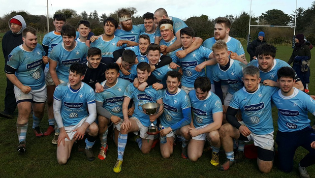 Garryowen celebrate after they defeated UCC Beagles in the Donal Walsh Trophy final