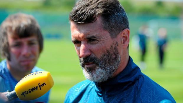 Republic of Ireland assistant manager Roy Keane during a pitchside update. Gannon Park, Malahide, Co. Dublin today. Picture credit: Seb Daly / SPORTSFILE