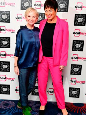 Lisa Maxwell (left) and Denise Welch attending the 2017 Television and Radio Industries Club Awards, Grosvenor House, Park Lane, London.