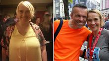 Deirdre pictured before losing eight stone, and after the Cork half-marathon with her husband Kevin