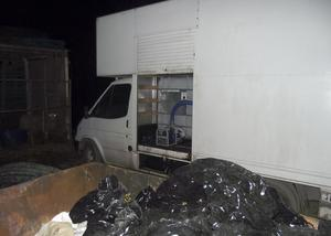 A van used in the mobile fuel-laundering scam