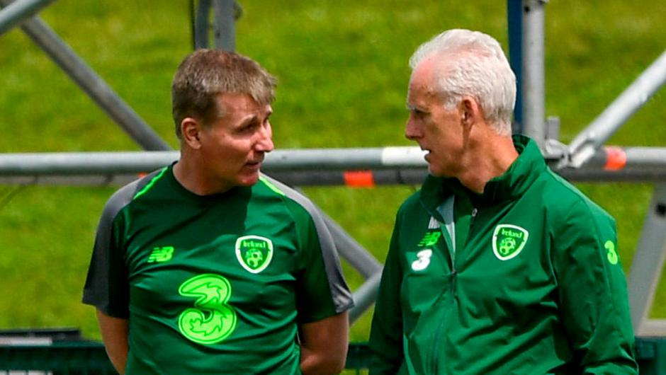 Former Ireland boss Mick McCarthy speaking with his successor Stephen Kenny