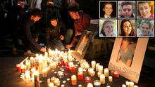 A candlelit vigil takes place in Berkeley for the victims of the balcony collapse tragedy. Inset right: The six students who lost their lives in the tragic accident, top left to bottom right: Lorcan Miller, Eoghan Culligan, Nick Schuster, Ashley Donohoe, Eimear Walsh and Olivia Burke