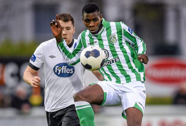 Bray Wanderers' Ismahil Akinade is alleged to have suffered racial abuse from an opponent during the recent Premier Division game with Sligo Rovers. Photo: Stephen McCarthy / SPORTSFILE