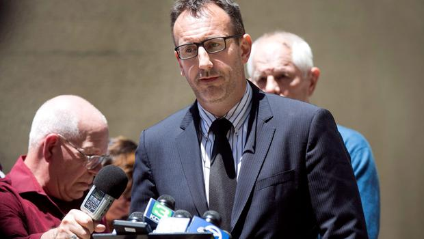 Philip Grant, the Consul General of Ireland for the Western United States speaks at a news conference following a 4th-story apartment building balcony collapse in Berkeley, California June 16, 2015. Six people were killed, including five young Irish citizens, and at least seven other people were injured when an apartment balcony collapsed early on Tuesday in the Californian city of Berkeley, Ireland's foreign minister said.  REUTERS/Elijah Nouvelage