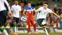 Robbie Brady strikes a free-kick to score Ireland's fourth goal in their friendly against the USA at the Aviva. Photo: Pat Murphy / SPORTSFILE