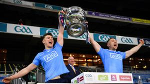 John Small and his brother Paddy Small celebrate after winning the All-Ireland final against Mayo. Photo by Ray McManus/Sportsfile