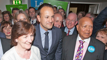Leo Varadkar with his parents Ashok and Miriam at the Mansion House yesterday. Photo: Gareth Chaney