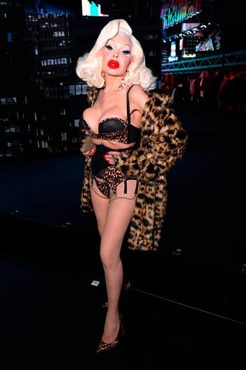 Amanda Lepore attends the Moschino x H&M - Front Row at Pier 36 on October 24, 2018 in New York City.  (Photo by Mike Coppola/Getty Images)