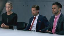 Roisin, James and Sanjay in the boardroom as James gets fired - Apprentice 2014