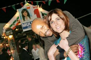 Michelle Mulherin with Danson Kole at an election centre a number of years ago