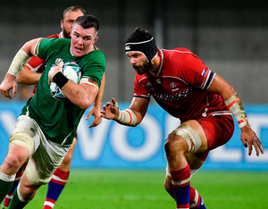 Peter O'Mahony in action against Russia