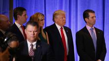 U.S. President-elect Donald Trump waits with his children before speaking during a news conference in the lobby of Trump Tower in Manhattan. (Photo: Reuters)