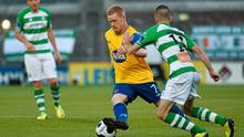 Dundalk's Daryl Horgan tries to evade Kieran Marty Waters of Shamrock Rovers in the FAI Ford Cup quarter-final at Tallaght Stadium. Photo: David Maher / SPORTSFILE