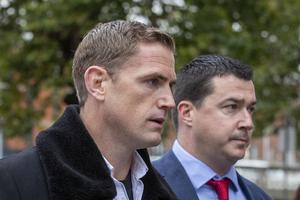 Jamie Heaslip (L) and Noel Anderson (R), co-owners of Lemon & Duke, at the Four Courts on the first day of their High Court action PIC: Collins Courts