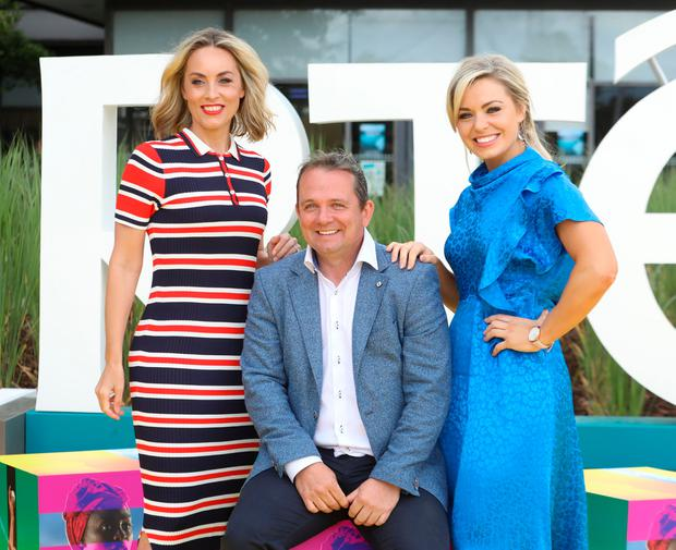 16/8/2018 RTE announce New Season Launch - L-R: Kathryn Thomas, Davy Fitzgerald and Anna Geary pictured at a photocall at Donnybrook in Dublin yesterday(Thurs).Pic: Collins