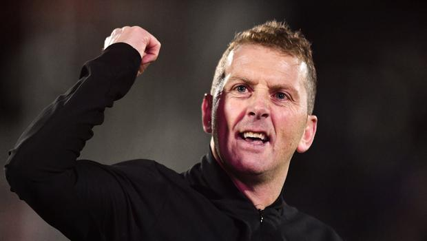 Dundalk manager Vinny Perth celebrates following the 1-0 win over Derry City. Photo by Ben McShane/Sportsfile