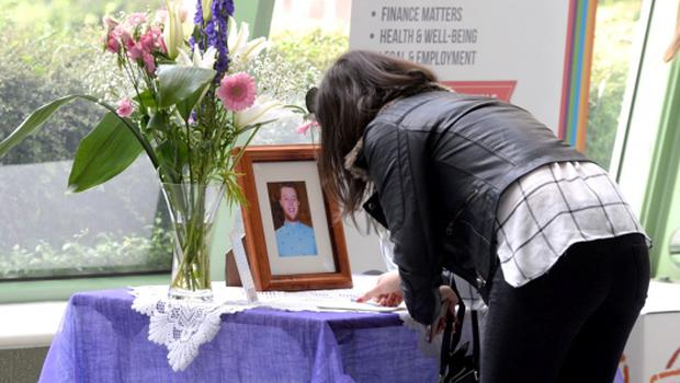 18/06/15. Mourners sign a book of condolences at a memorial service held today in DIT Aungier Street in memory of Eoghan Culligan. Pic: Justin Farrelly.