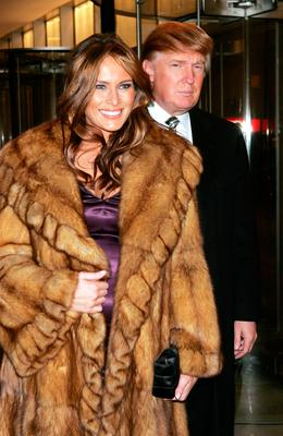 Donald Trump and Melania arrive at a gala to honor leaders in tourism sponsored by NYC & Company at the Museum of Modern Art December 13, 2004 in New York City.  (Photo by Scott Gries/Getty Images)