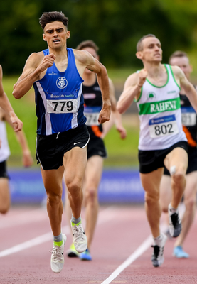Andrew Coscoran runs hard for the line in the men's 1500m at the National Championships last July. Photo: Sportsfile