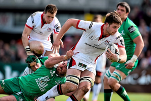 Iain Henderson, Ulster, is tackled by Dennis Buckley, Connacht. Guinness PRO12, Round 19, Connacht v Ulster, Sportsground, Galway. Picture credit: Ramsey Cardy / SPORTSFILE