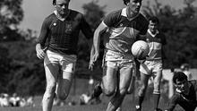 Offaly's Matt Connor (right) in action against Philip Kiernan of Longford in June 1984. Photo: Ray McManus / SPORTSFILE