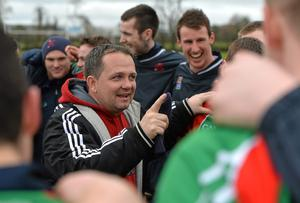 Limerick IT manager Davy Fitzgerald speaks to his players after victory over University of Limerick