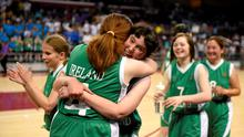 Team Ireland's Clare Nolan from Foxrock and her team mate Laura Mangan from Swords in Dublin celebrate after their win in basketball over Ecuador