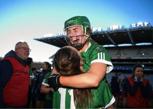 Orlaith McGrath and Sara Spellman of Sarsfields celebrate following the AIB All-Ireland Senior Camogie Club Championship Final match between Sarsfields and Slaughtneil at Croke Park in Dublin. Photo by Harry Murphy/Sportsfile
