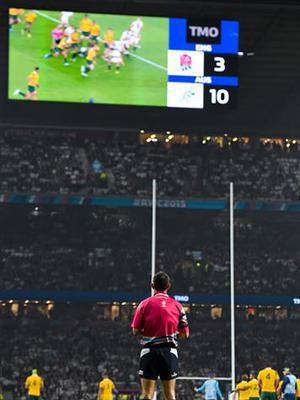 3 October 2015; Referee Romain Poite watches the replay of Australia's second try after it went to the TMO. 2015 Rugby World Cup, Pool A, England v Australia, Twickenham Stadium, London, England. Picture credit: Brendan Moran / SPORTSFILE