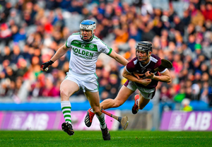 TJ Reid attempts to get away from Kevin Maher of Borris-Ileigh during Ballyhale's All-Ireland SHC club final victory last January. Photo: Seb Daly/Sportsfile